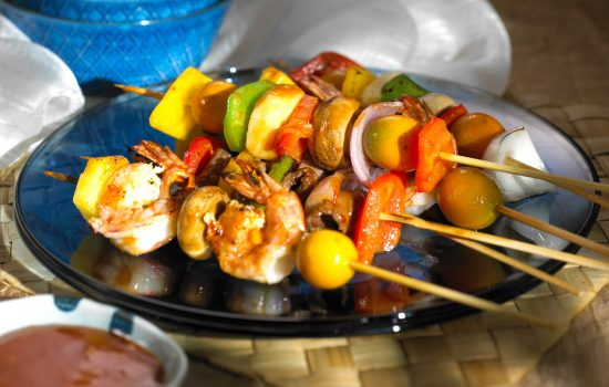 Grilled Skewered Prawns