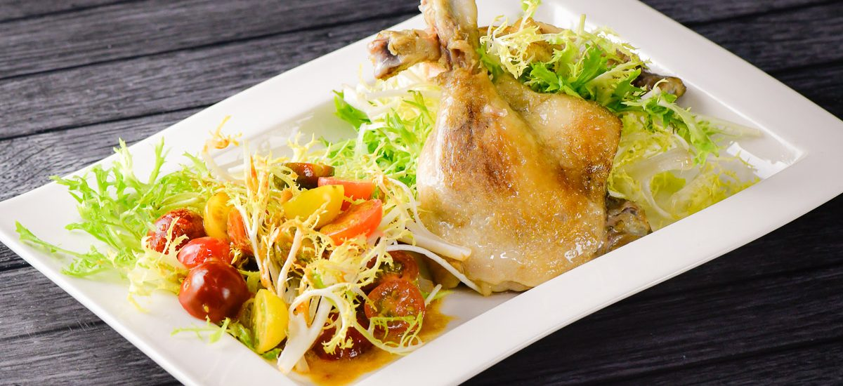 Sous Vide Duck Confit with Heirloom Tomato Salad